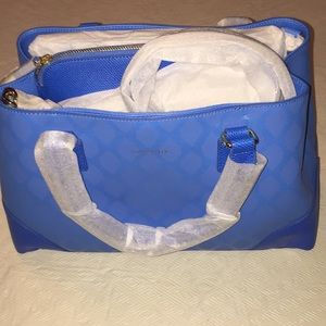 Vera Bradley Leather Emma Satchel Blue